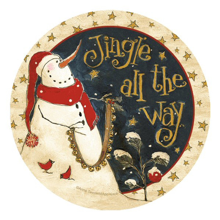 Jingle All the Way Round Beverage Coasters by Anne Tavoletti, Set of 8