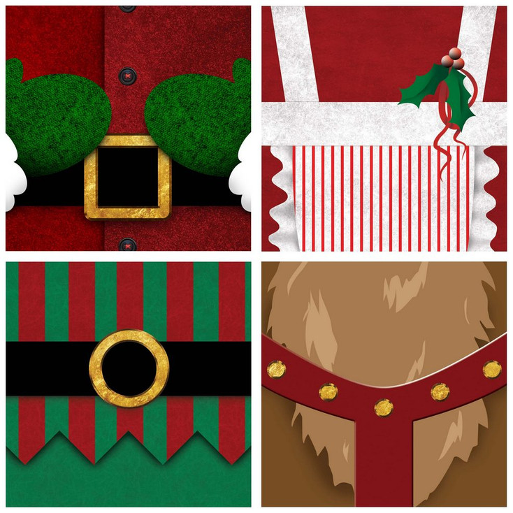Christmas Bellies Absorbent Beverage Coasters, Set of 8