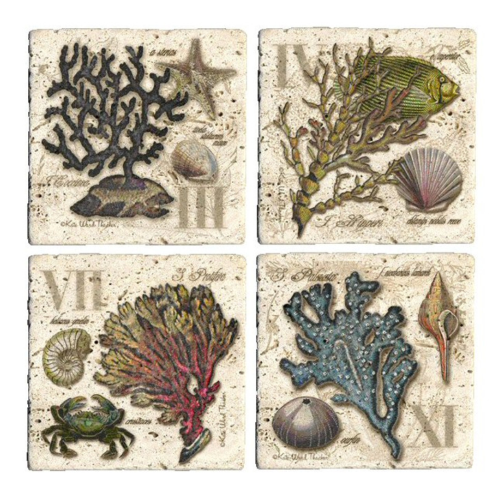 Sea Life Travertine Stone Coasters by Kate Ward Thacker, Set of 8