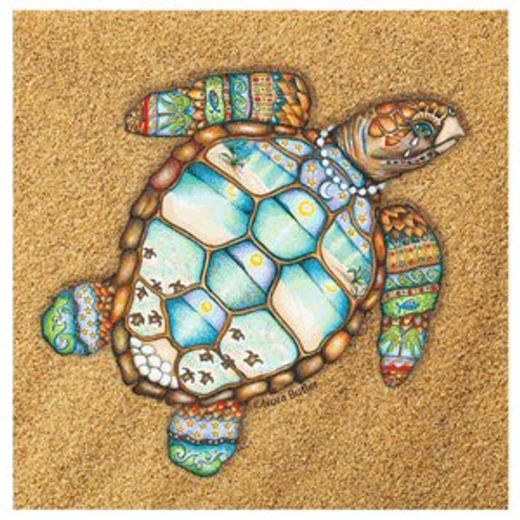 Loggerhead Rhythms Turtle Beverage Coasters by Nora Butler, Set of 8