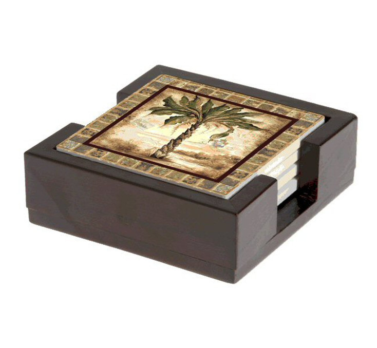 Palm Tree II Beverage Coasters by Tre Sorelle Studios, Set of 10