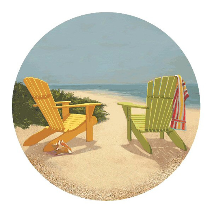 Best Seat in the House Beach Sandstone Coasters by L. Sesler, Set of 8