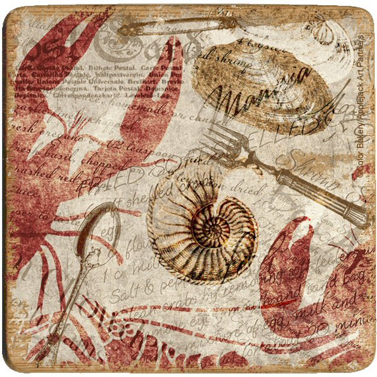 Seafood Postcard Lobster Shrimp Clam Beverage Coasters, Set of 8