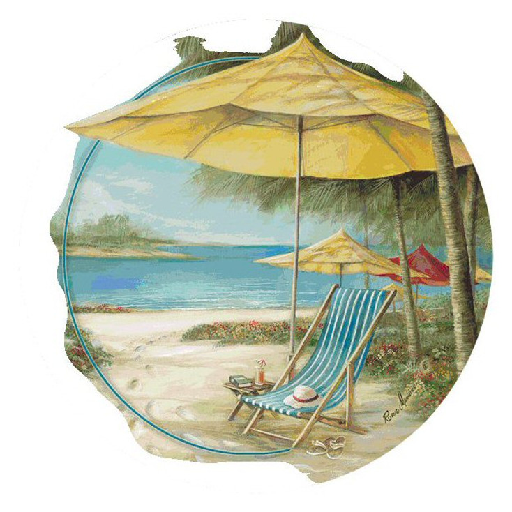 Beach Chair with Umbrella Round Coasters by Ruane Manning, Set of 8