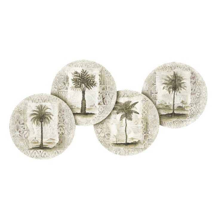 Ferns and Palm Trees Round Coasters by Richard Henson, Set of 8