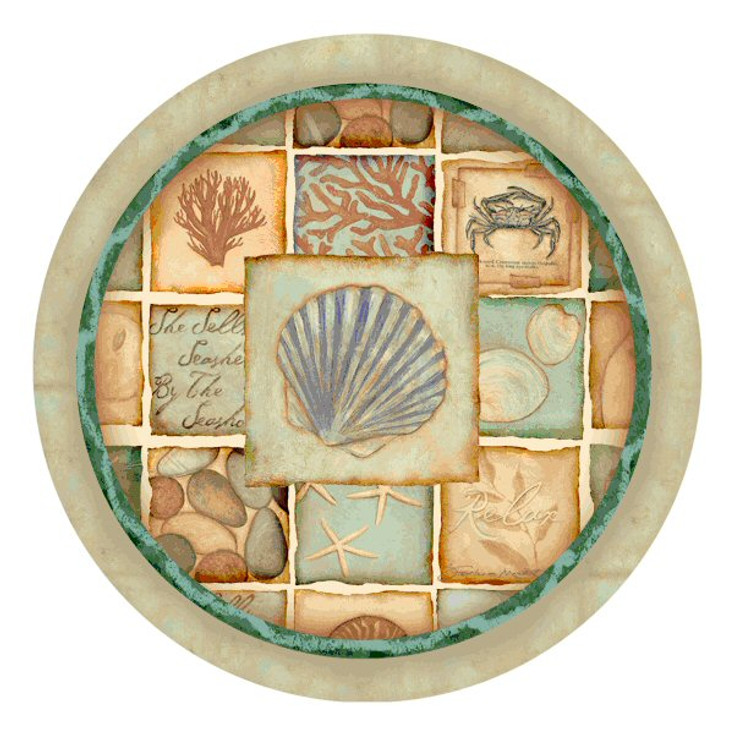 Nautical Patchwork Round Beverage Coasters Stephanie Marrott, Set of 8