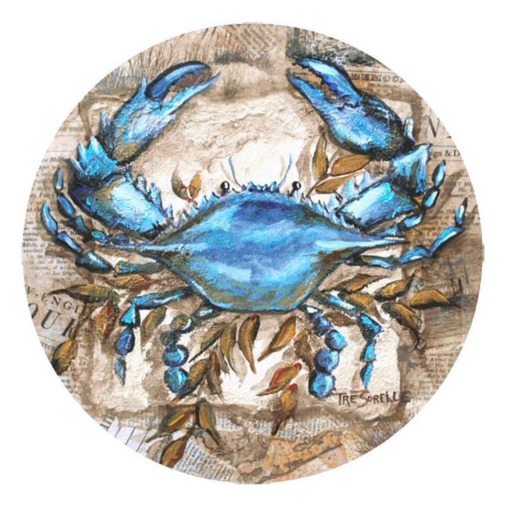 Blue Crab Round Beverage Coasters by Tre Sorelle Studios, Set of 8