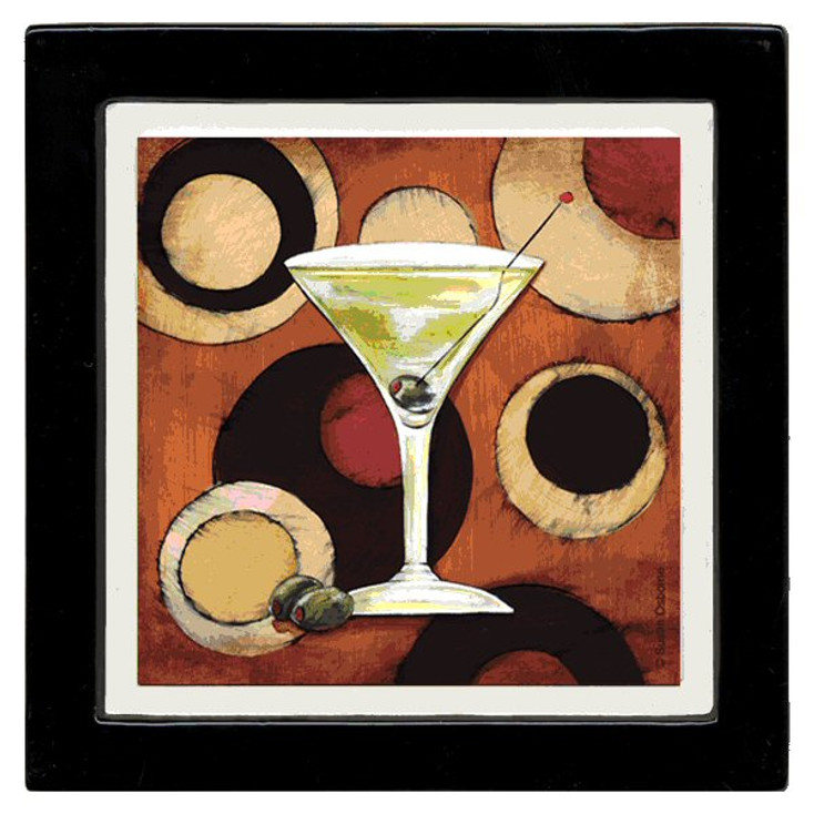 Bar Scene Martini Beverage Coasters by Susan Osborne, Set of 8
