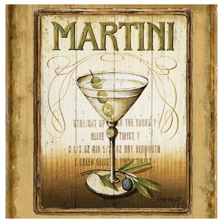 Martini Absorbent Beverage Coasters by Lisa Audit, Set of 8