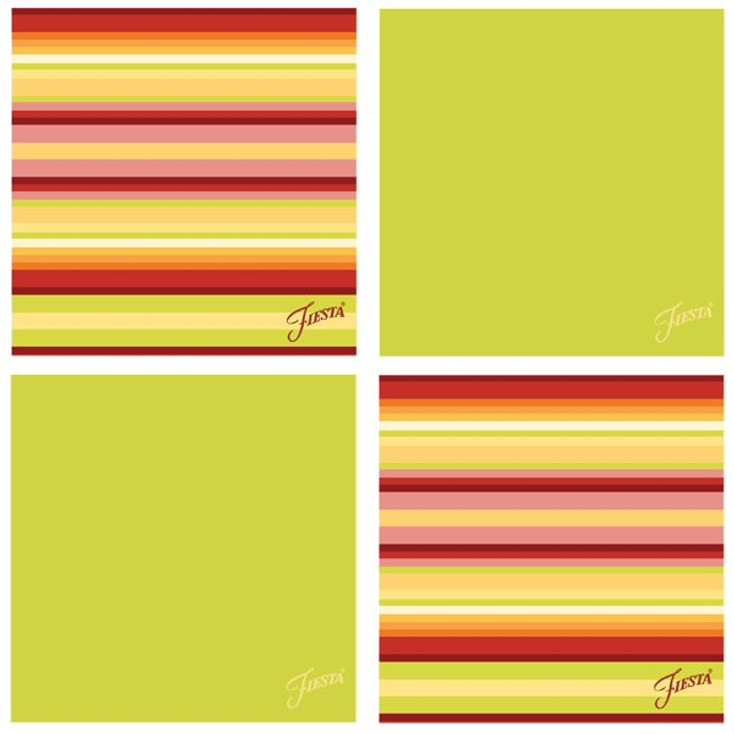 Fiesta Lemongrass Warm Stripe Absorbent Beverage Coasters, Set of 8