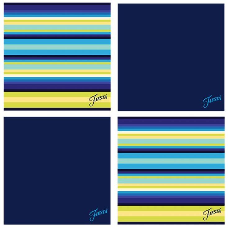 Fiesta Cobalt Cool Stripe Absorbent Beverage Coasters, Set of 8