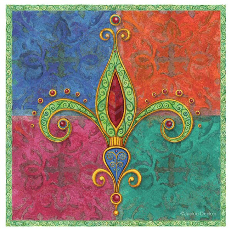 Bright Jewel Fleur De Lis Coasters by Jackie Decker, Set of 8