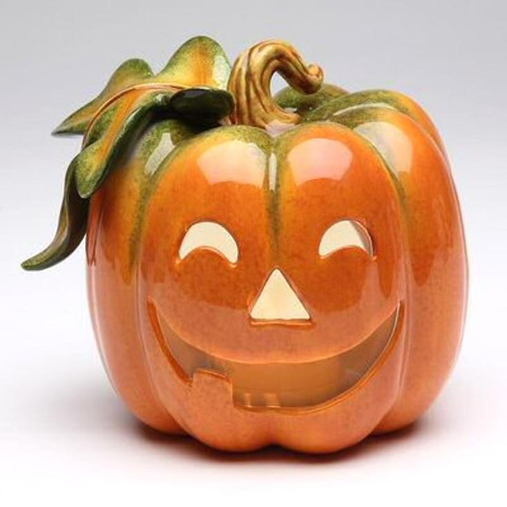 Pumpkin Jack O Lantern Tea Light Candle Holders, Set of 2