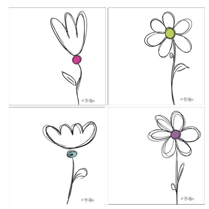 Daisy Sketcharoo Absorbent Beverage Coasters by BJ Lantz, Set of 8