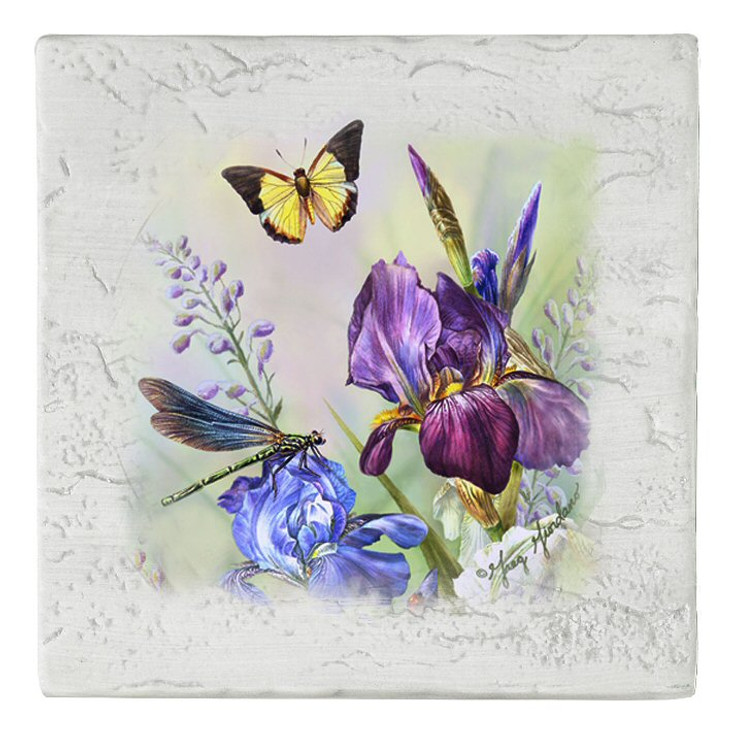 Dragonfly and Iris Flowers Beverage Coasters, Set of 8