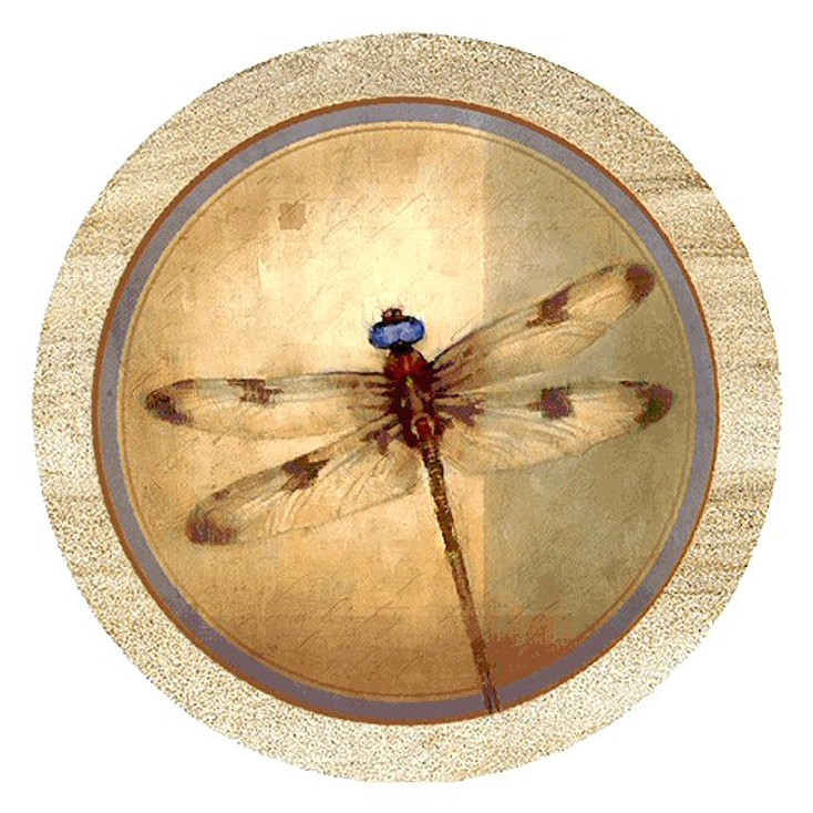 Dragonfly Parchment Sandstone Beverage Coasters, Set of 8