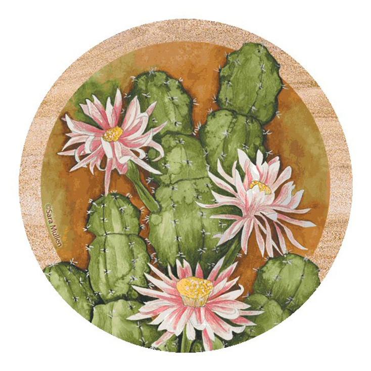 Cereus Tile Cactus Sandstone Beverage Coasters by S. Mullen, Set of 8