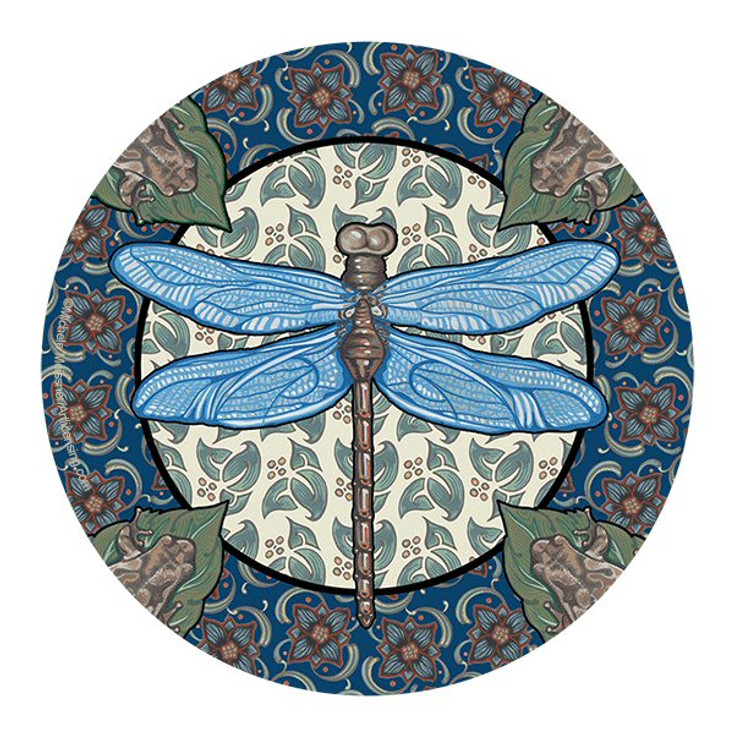 Apple Dragonfly Sandstone Round Beverage Coasters, Set of 8