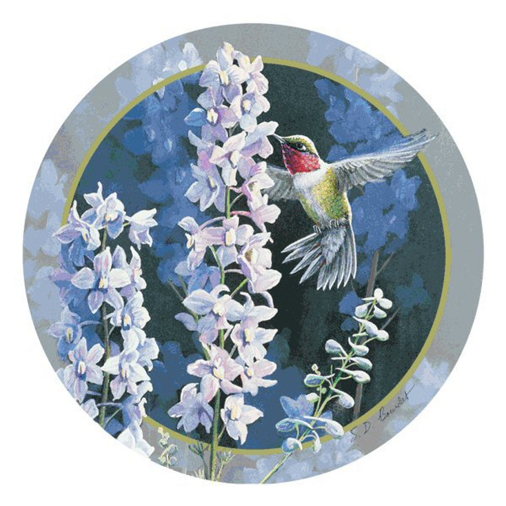 Hummingbird in Delphiniums Round Coasters by Susan Bourdet, Set of 8