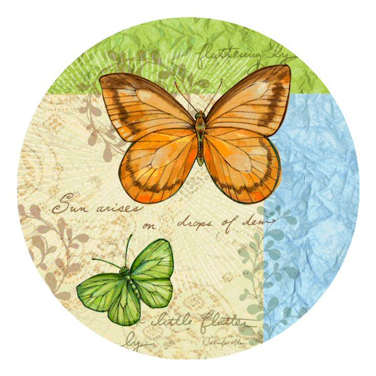 Flutter by Butterfly Round Beverage Coasters by J. Allen, Set of 12