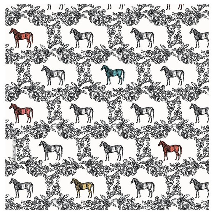 Colored Horse Pattern Absorbent Beverage Coasters, Set of 8