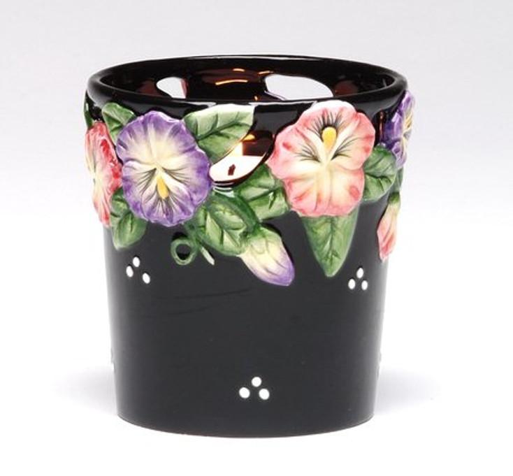 Pansy Flower Votive Candle Holder, Set of 4