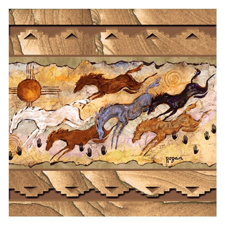 Happy to Be Alive Horses Sandstone Coasters by Ginny Hogan, Set of 8