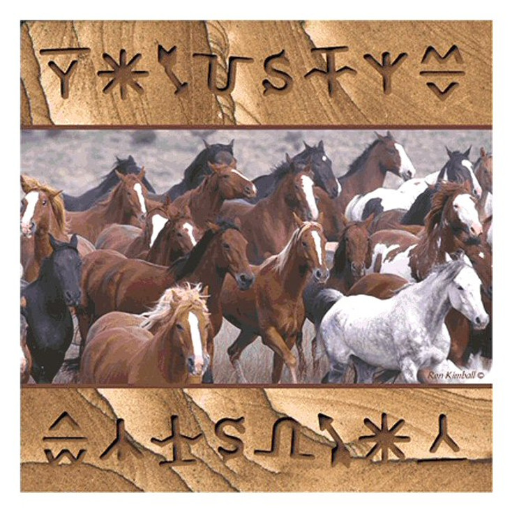 Running Horses Collage Sandstone Coasters by Ron Kimball, Set of 8