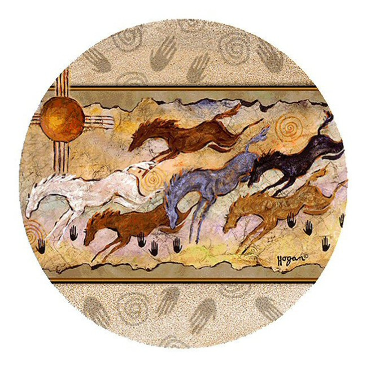 Happy to be Alive Horses Round Coasters by Ginny Hogan, Set of 8