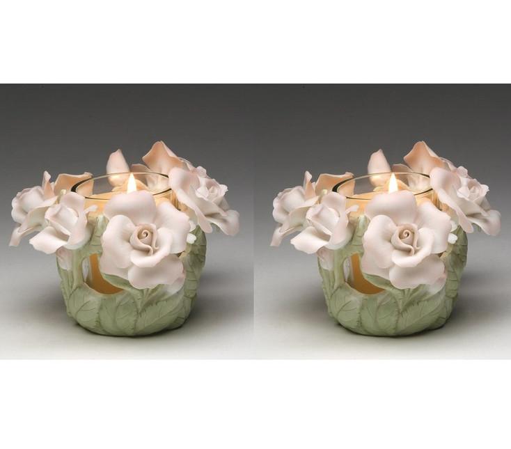 Rose Votive Porcelain Candle Holder, Set of 2