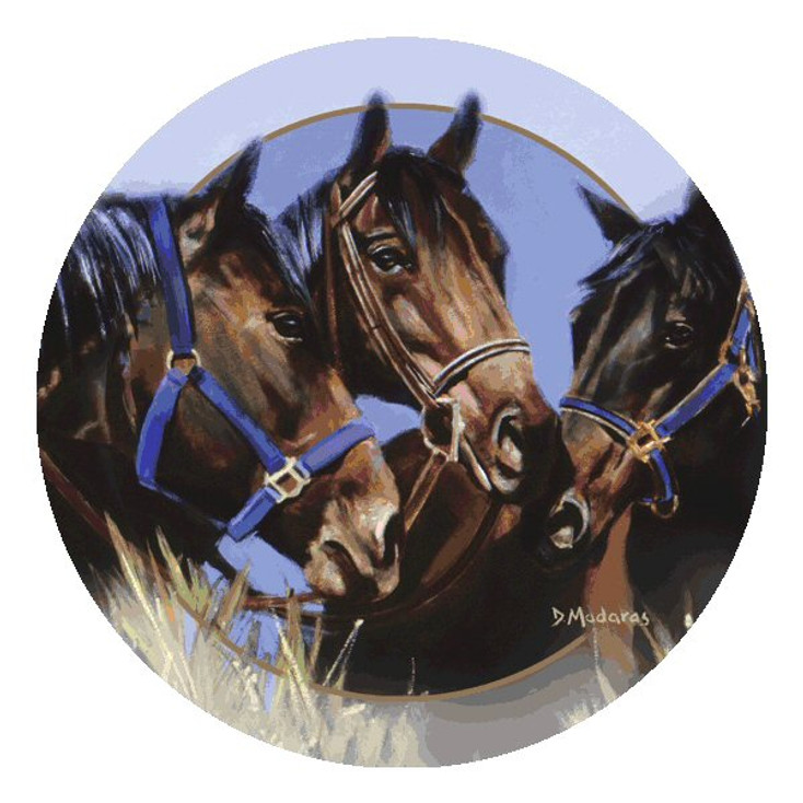 Horse Talk Round Beverage Coasters by Diana Madaras, Set of 8