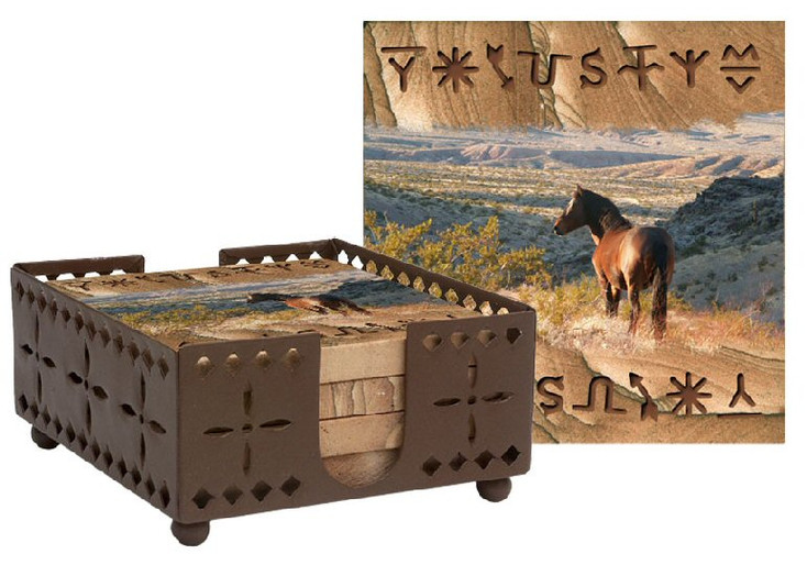 Mountain View Horse Sandstone Coasters with Steel Holder, Set of 10