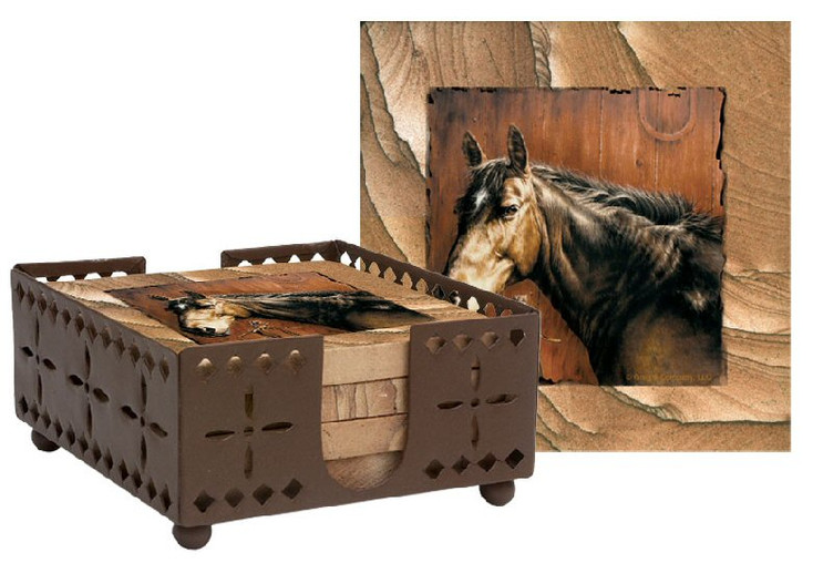 Horse Portrait Cinnabar Sandstone Coasters w/Steel Holder, Set of 10