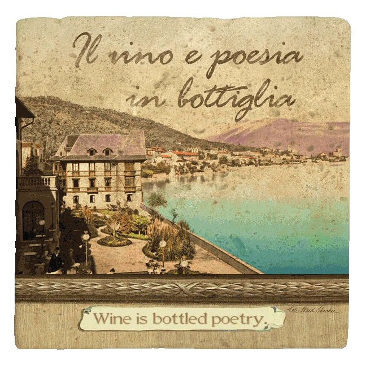 Italian Inspirations Bottled Poetry Absorbent Coasters, Set of 12