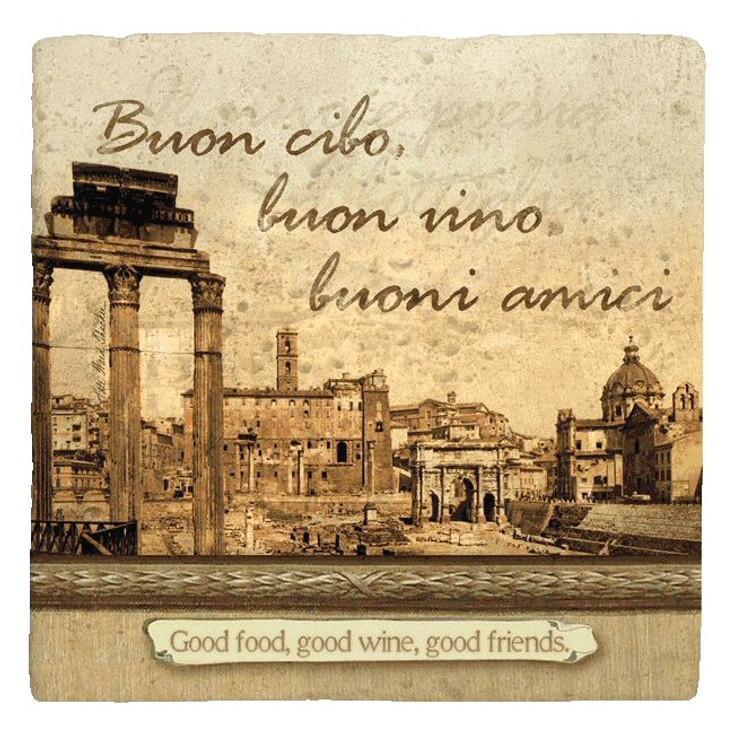 Italian Inspirations Good Food Absorbent Beverage Coasters, Set of 12