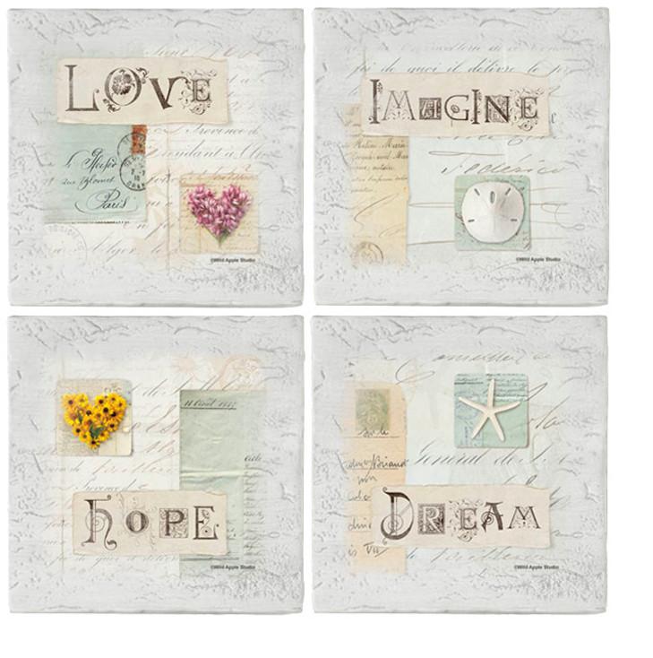 Love Letters Beverage Coasters, Set of 8