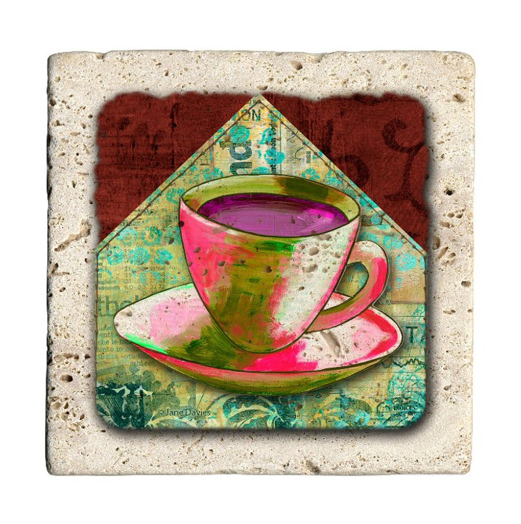 Coffee Colors Travertine Stone Beverage Coasters, Set of 8