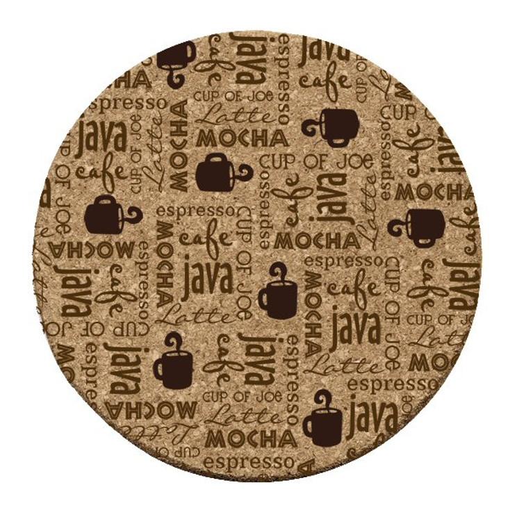 Coffee Break Cork Beverage Coasters, Set of 12