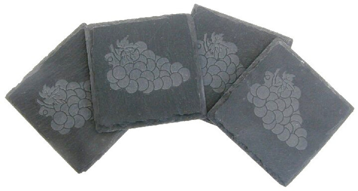 Etched Grapes Natural Slate Beverage Coasters, Set of 8