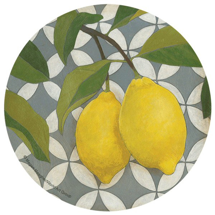 Lemons Absorbent Round Beverage Coasters by Megan Meagher, Set of 8