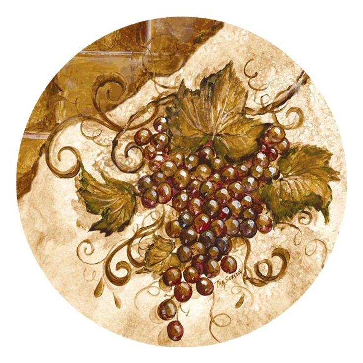 Grapes Round Beverage Coasters by Tre Sorelle Studios, Set of 8