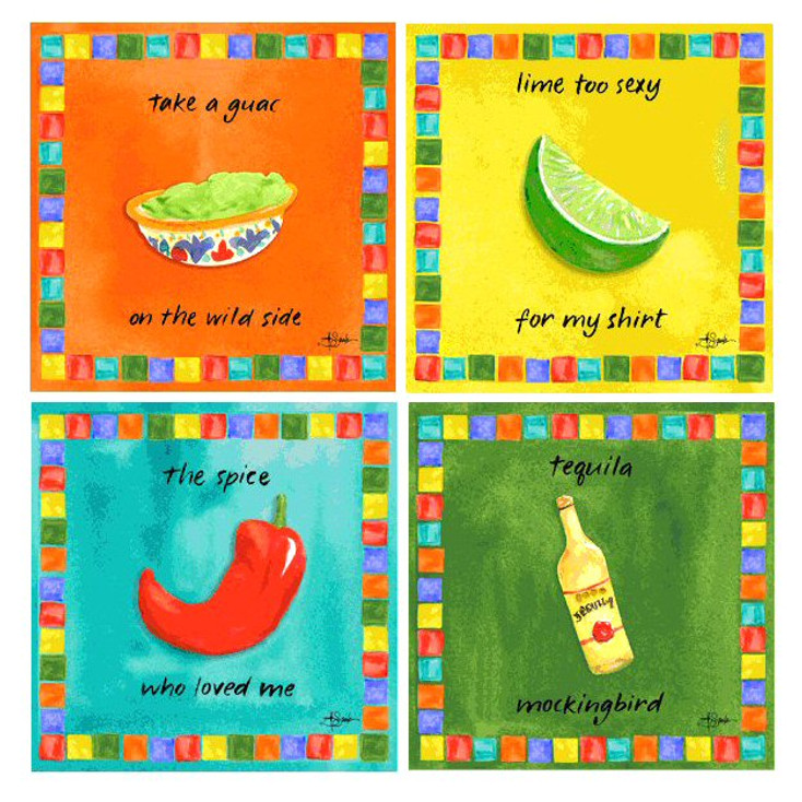 Text Mex Absorbent Beverage Coasters by Jill Seale, Set of 8