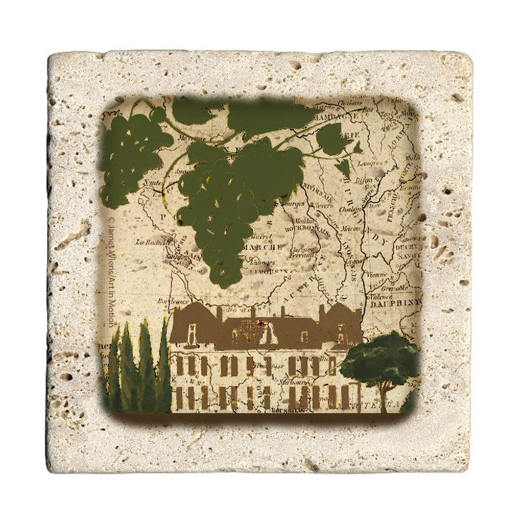 Villa Map Travertine Stone Beverage Coasters, Set of 8