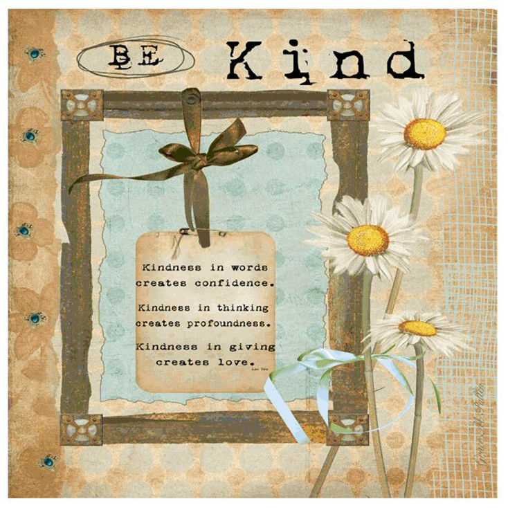 Be Kind Absorbent Beverage Coasters by Grace Pullen, Set of 12