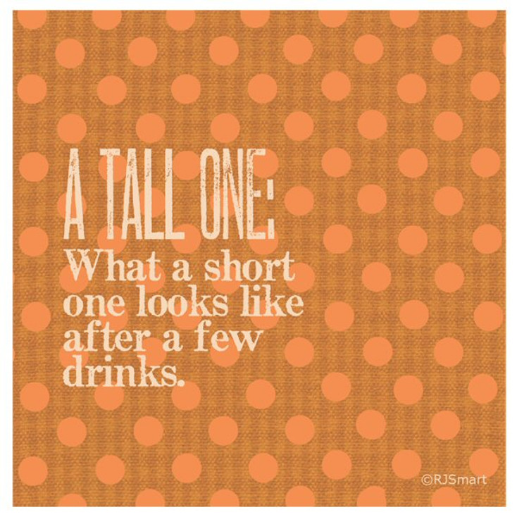 A Tall One Absorbent Beverage Coasters by RJ Smart, Set of 12