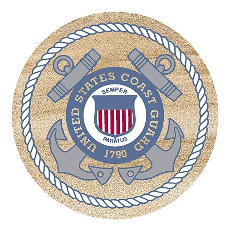 United States Coast Guard Sandstone Beverage Coasters, Set of 8
