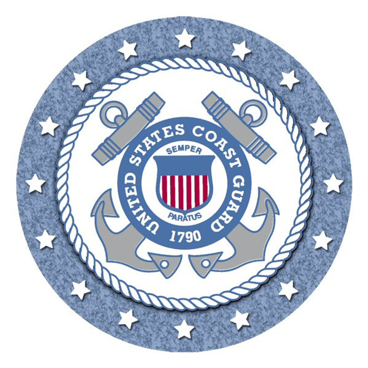 United States Coast Guard Absorbent Round Beverage Coasters, Set of 8
