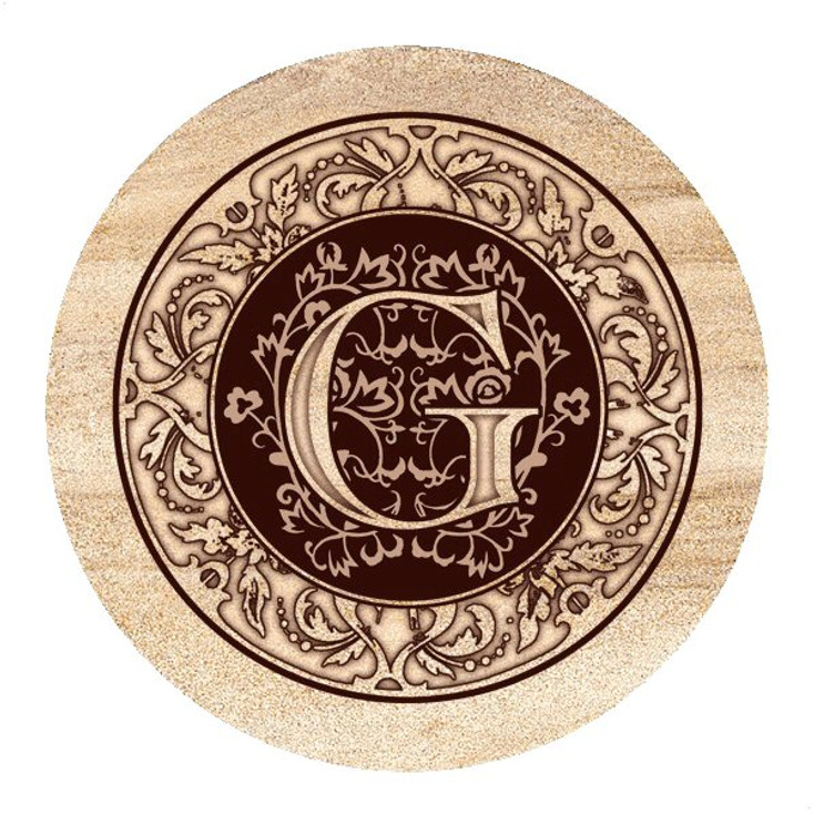 Monogram G Sandstone Beverage Coasters, Set of 4
