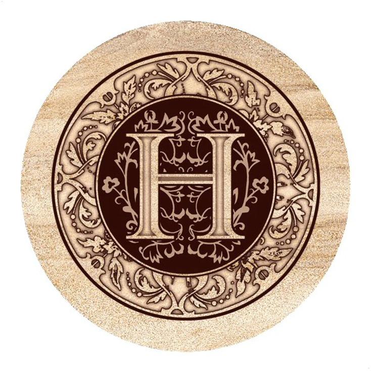 Monogram H Sandstone Beverage Coasters, Set of 4