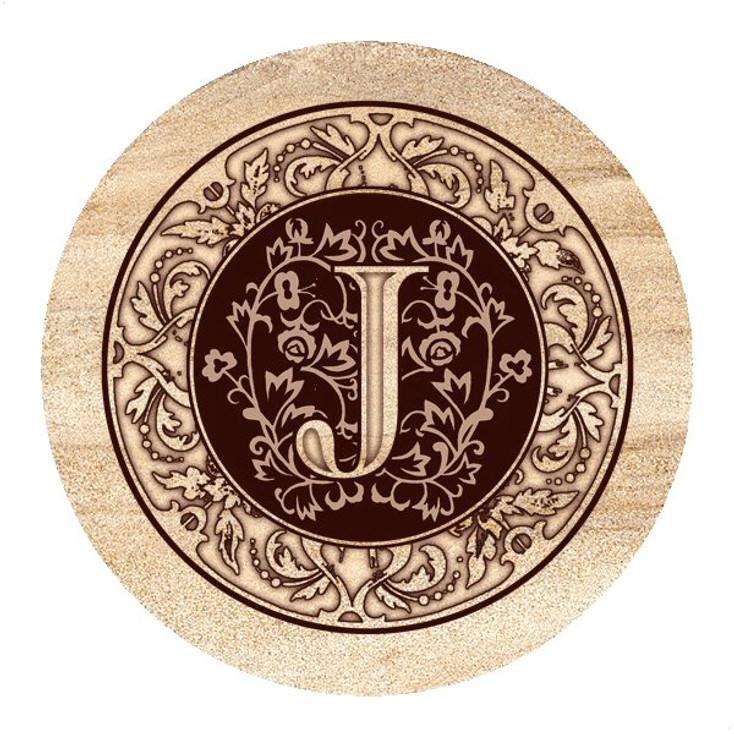 Monogram J Sandstone Beverage Coasters, Set of 4
